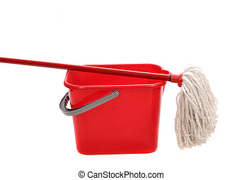 Red bucket with cleaning mop Isolated on a white background...