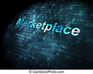 Advertising concept: Marketplace on digital background -...