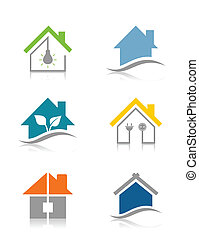 Home8 - Set of icons of houses. A vector illustration