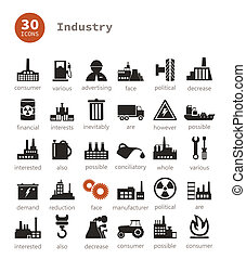 Industrial icons9 - Set of icons on a theme the industry A...