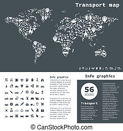Transport map2 - map made of transport. A vector...