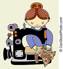 Woman seamstress work on the sewing-machine. Vector...