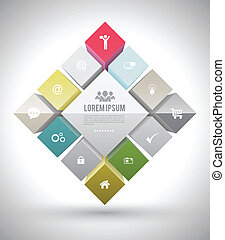 Eactangle group with icons - Vector business concepts with...