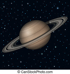 Planet Saturn in space - Space background, realistic planet...