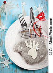 Christmas table setting - Rustic Christmas table setting
