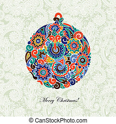 marker drawing christmas ball in ornate background. Vector...