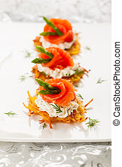 Potato pancakes topped with smoked salmon,asparagus and sour...
