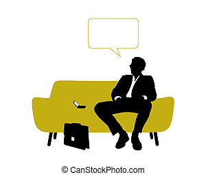 businessman seated on yellow sofa having rest and thinking -...
