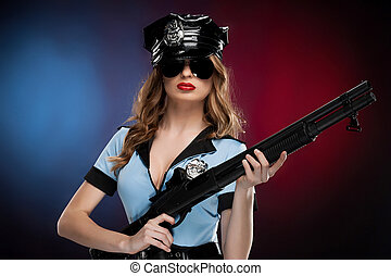 Sexy policewoman. Beautiful young policewoman in uniform...