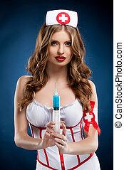 Sexy, Enfermera, hermoso, joven, Enfermera, uniforme,...
