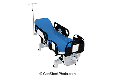Hospital bed - Digital illustration of Hospital bed in...