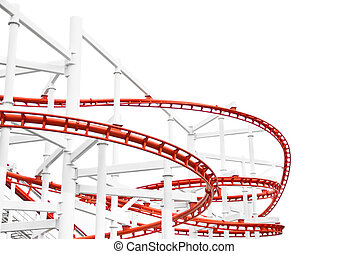 Roller Coaster - The roller coaster track structure isolated...