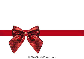 red ribbon with loop isolated with white background