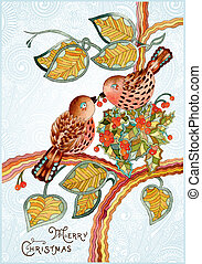 christmas card with bird - Ornate vintage watercolor...