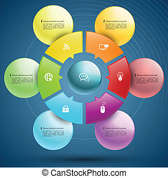 Circle group - Vector business concepts with icons / can use...