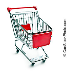 shopping cart - metal shopping cart on white background