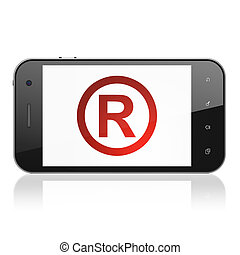 Law concept: Registered on smartphone - Law concept:...
