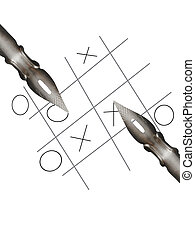 Crisscross game - Two steel pens on white background with...