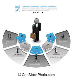 Business man position - Vector business concepts with icons...