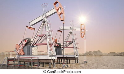 Oil pump (sunrise) - An iconic oil and gas industry symbol
