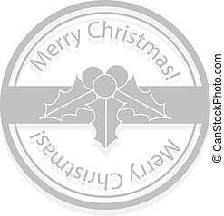 Holly berries Christmas stamp - Holly berries gray Christmas...
