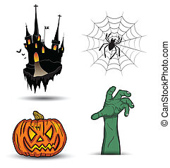 Object halloween set - ghost house/ spider web/ hand zombie...