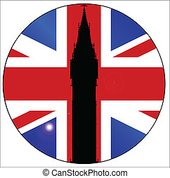 Union Jack Button - The London landmark Big Ben Clocktower...