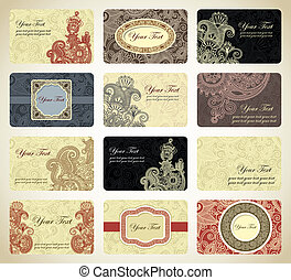business card collection - Various vintage ornamental...