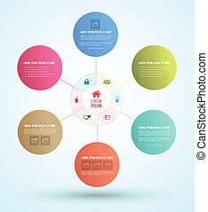 circle loop scribble - Vector business concepts with icons /...