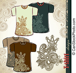 t-shirt flower ethnic design templates