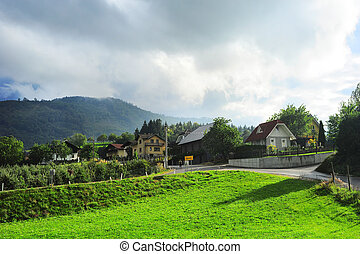 Slovenian village - Traditional Slovenian village in the...