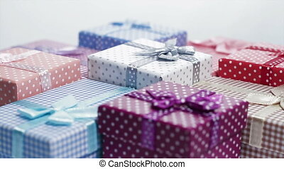 present box rotating background - multi color present boxes...