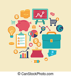 Vector finance and business concept - flat icons and signs