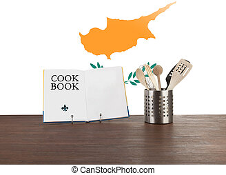 Cookbook and kitchen utensils with Cypriot flag - Cookbook...