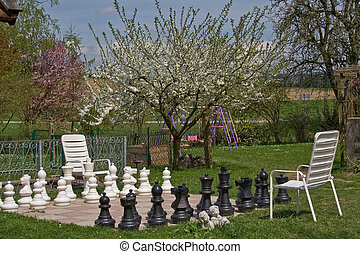 outdoor chess - big garden chess place