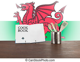 Cookbook and kitchen utensils with Welsh flag - Cookbook and...