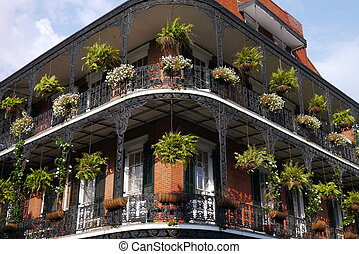 Balcony in New Orleans - Wrought iron balcony in the French...