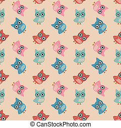 Owl Colorful Seamless Pattern - Vector Owl Colorful Seamless...