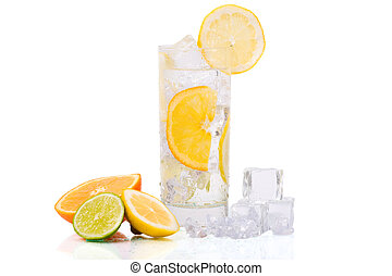 Refreshing Ice Drink. Glass of refreshing ice water with...