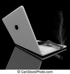 Smoking Gun and Laptop - A smoking handgun sits on a laptop...
