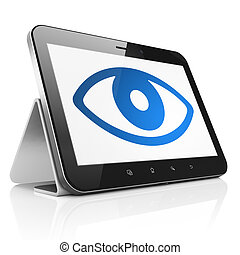 Security concept: Eye on tablet pc computer