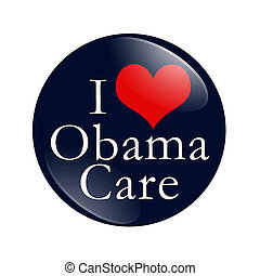 I Love ObamaCare Button - A blue button with word I Love...
