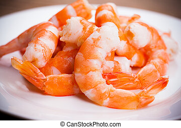 tiger shrimps on white plate
