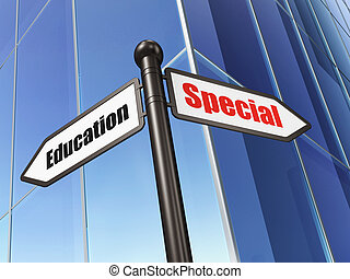 Education concept: sign Special Education on Building background, 3d render