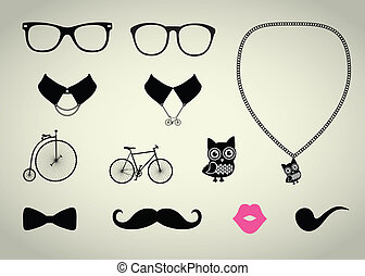 Hipster Accessory Set - Hipster Accessory Vector Set,...