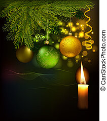 Christmas background with tree and baubles. Vector illustration