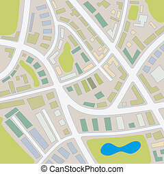 city map 1 - abstract illustration of a city map with...