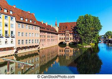Scenery of Nuremberg, Germany - Summer scenic cityscape of...