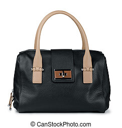 Leather handbag - Black leather handbag isolated on white