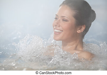 relax in jacuzzi - Beauty laying outdoors in Jacuzzi